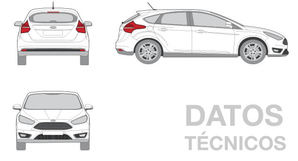 silueta dimensiones ford focus